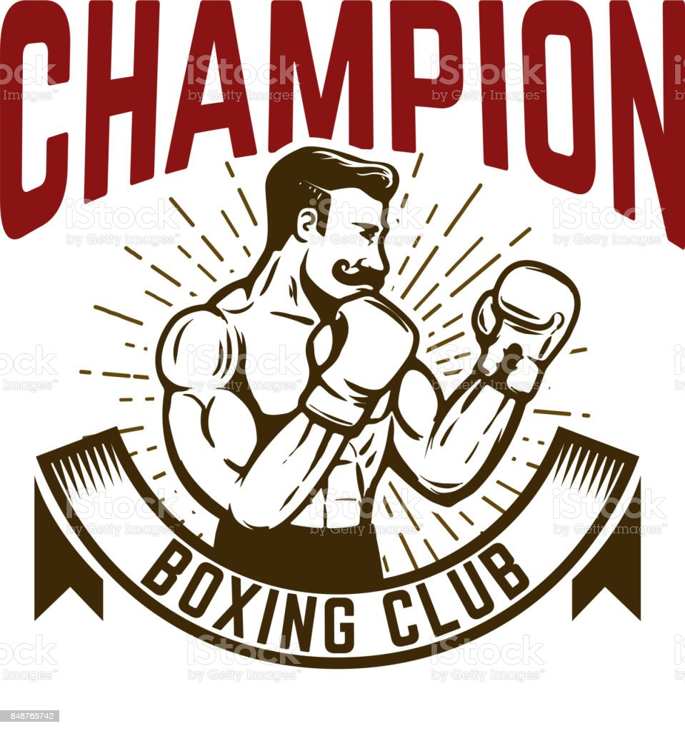 Champion boxing club. Vintage style boxer fighter. vector art illustration