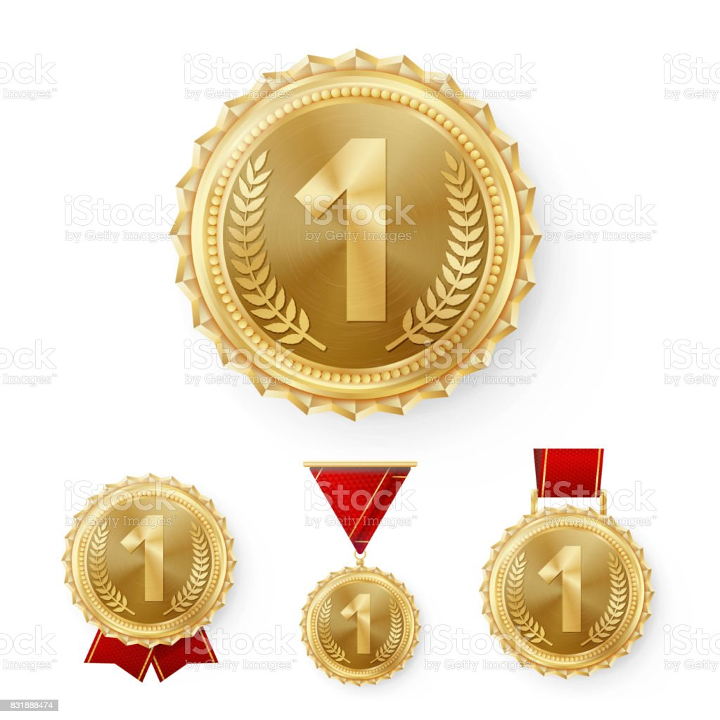 Champion Bronze Medals Set Vector. Metal Realistic 3rd Placement Winner Achievement. Number Three. Round Medal With Red Ribbon. Relief Detail. Best Challenge Award Sport Competition Game Copper Trophy vector art illustration