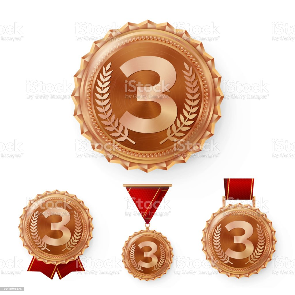 Champion Bronze Medals Set Vector. Metal Realistic 3rd Placement Winner Achievement. Number Three. Round Medal With Red Ribbon vector art illustration