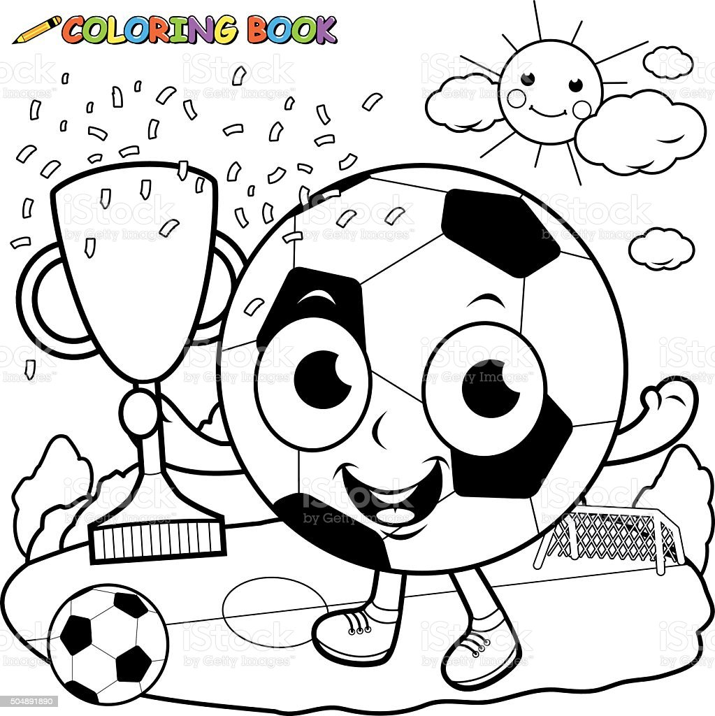 Champion cartoon soccer ball holding trophy coloring book page stock