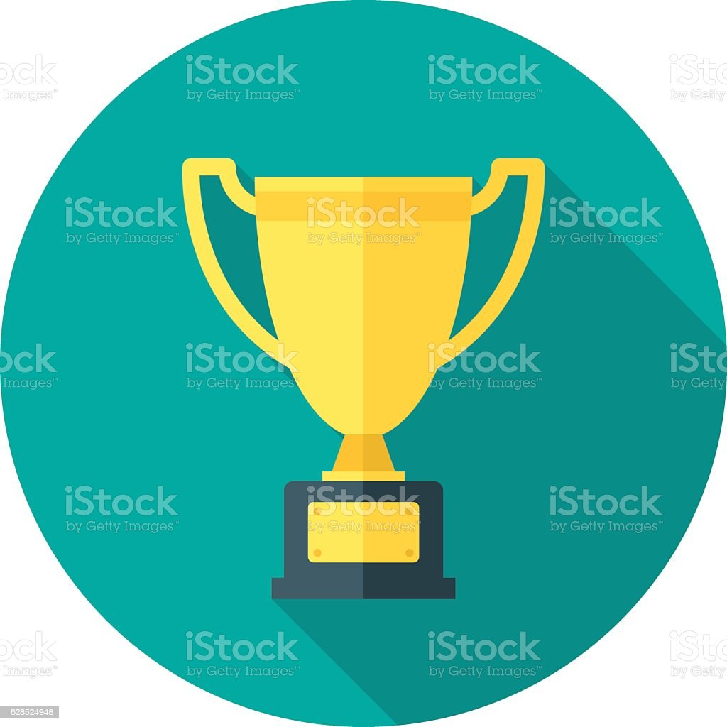 Champion cup icon with long shadow. vector art illustration