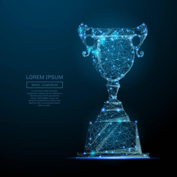 Champion Cup low-Poly blau – Vektorgrafik
