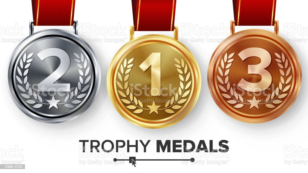 Champion Medals Set Vector. Metal Realistic First, Second Third Placement Achievement. Round Medals With Red Ribbon, Relief Detail Of Laurel Wreath, Star. Sport Game Golden, Silver, Bronze Achievement vector art illustration