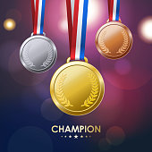 Champion medals awards with shiny background.