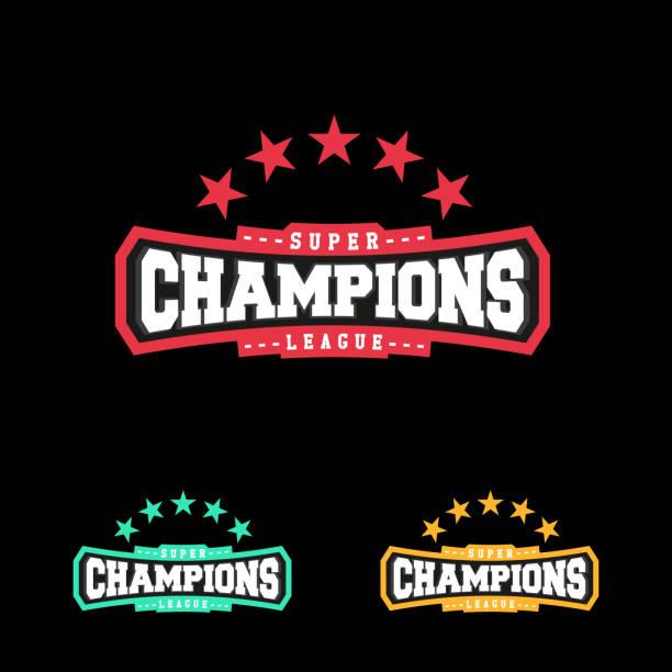 stockillustraties, clipart, cartoons en iconen met kampioen sport league pictogram embleem badge grafische typografie - kampioenschap