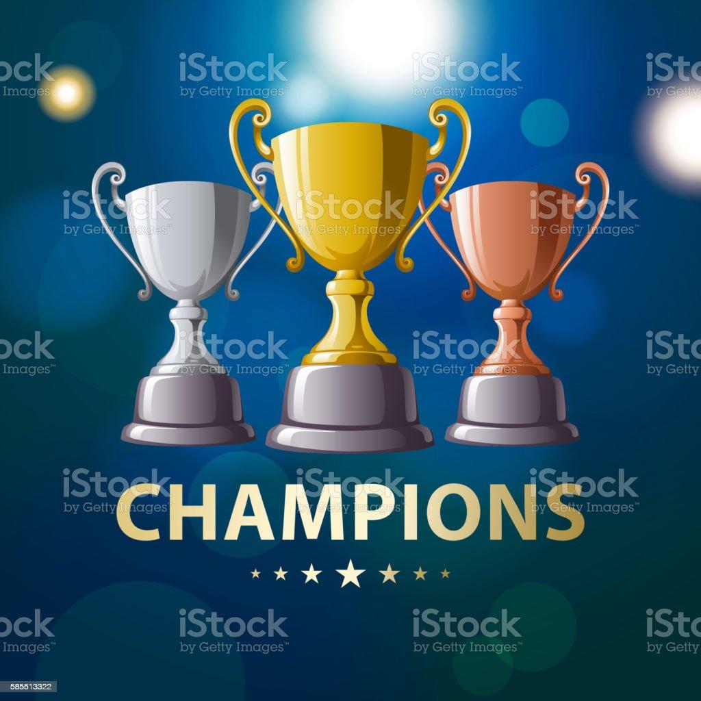 Champion Trophies vector art illustration