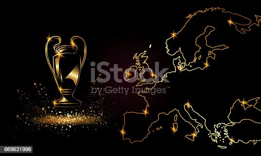 istock Champions Cup with a linear map. Golden Soccer trophy. 669631996