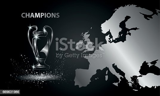 istock Champions Cup with a map. Chromed Soccer trophy. 669631986