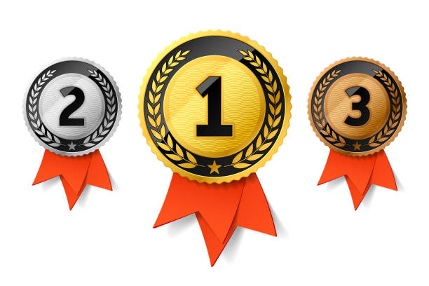 Champions gold, silver and bronze award medals with red ribbon Champions gold, silver and bronze award medals with red ribbon. First, second and third places awards. Vector illustration gezond stock illustrations