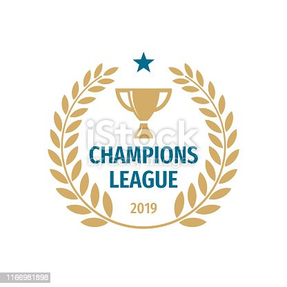 Champions league badge design. Gold cup icon vector illustration.