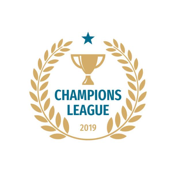 stockillustraties, clipart, cartoons en iconen met champions league badge ontwerp. gouden cup pictogram vector illustratie. - kampioenschap