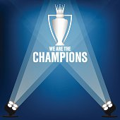 Champions trophy on stage with spotlight, Vector illustration