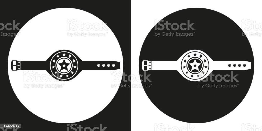 Championship belt icon. Silhouette championship belt on a black and white background. Sports Equipment. Vector Illustration. vector art illustration