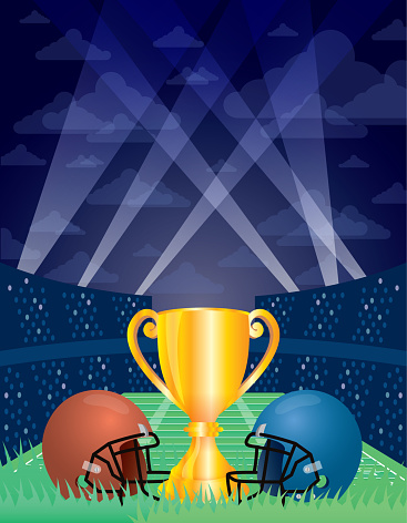 championship game sport poster with trophy cup and helmets