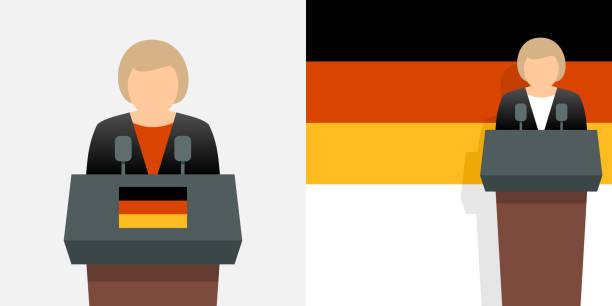 bundeskanzler für deutschland und deutsche flagge - kanzlerin stock-grafiken, -clipart, -cartoons und -symbole