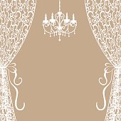 chandelier and curtains