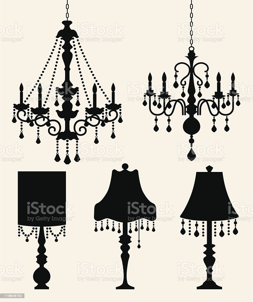 Chandelier and Lamp Silhouette vector art illustration