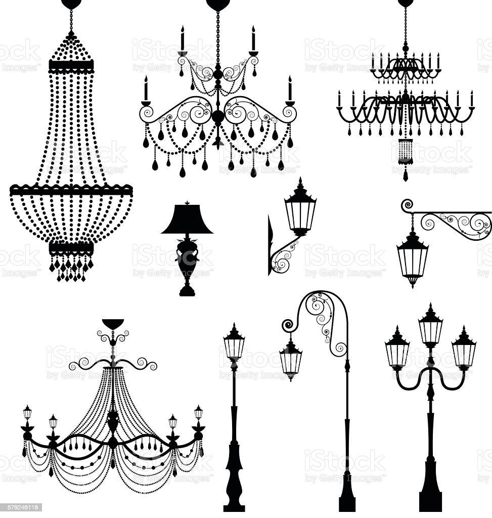 Chandelier and vintage lamp set vector art illustration
