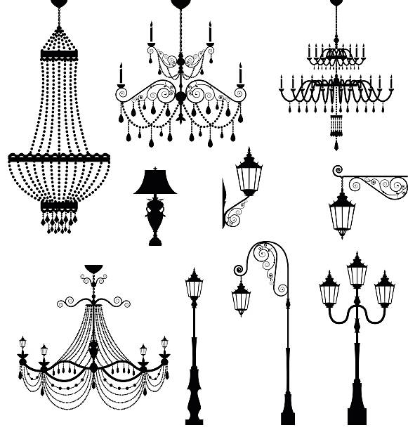 Chandelier and vintage lamp set Elegant chandelier and vintage lamp set candlestick holder stock illustrations
