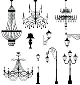Chandelier and vintage lamp set