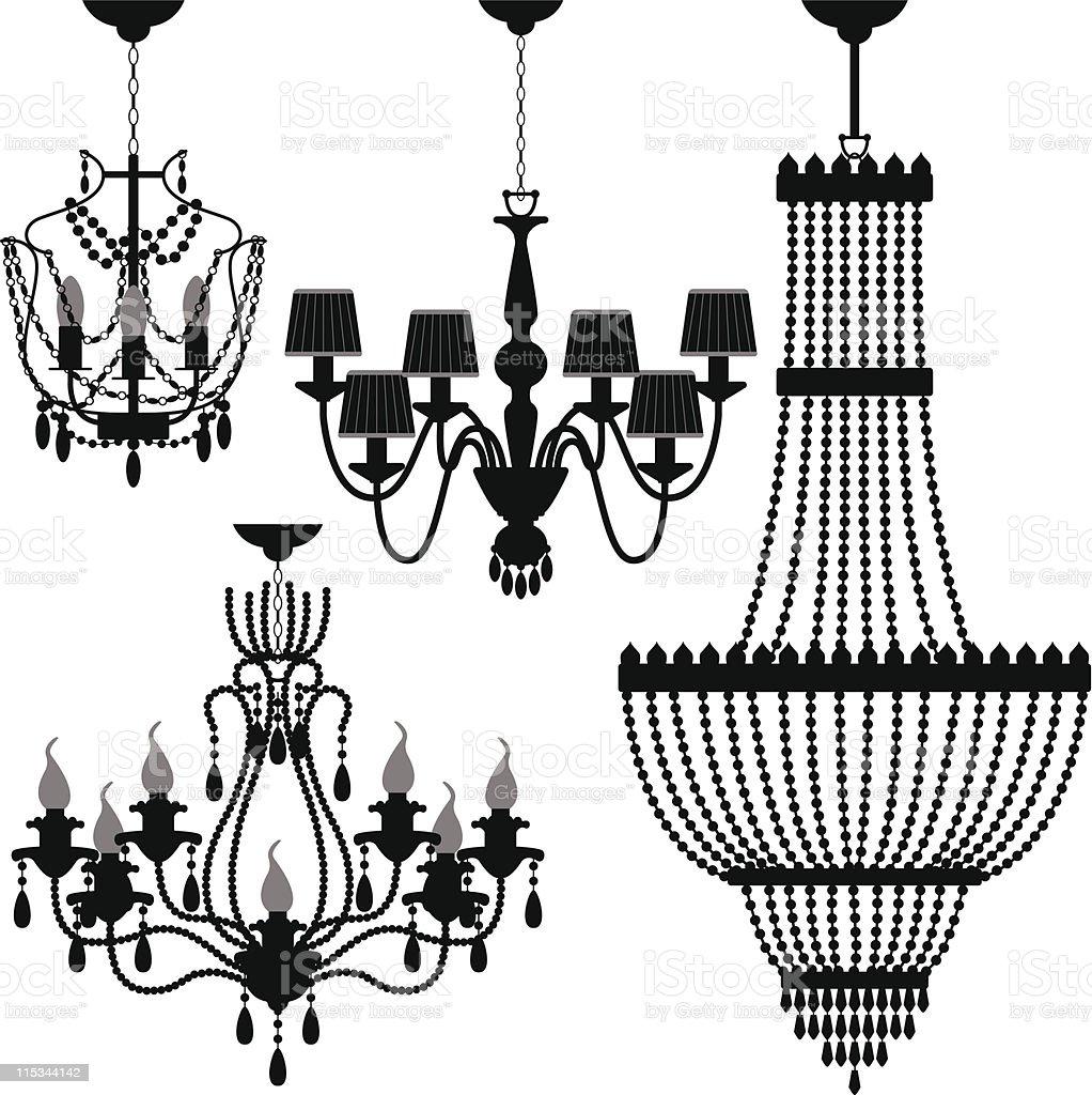 Chandelier Black Silhouette vector art illustration