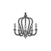 Chandelier Hand Drawn Sketch Icon