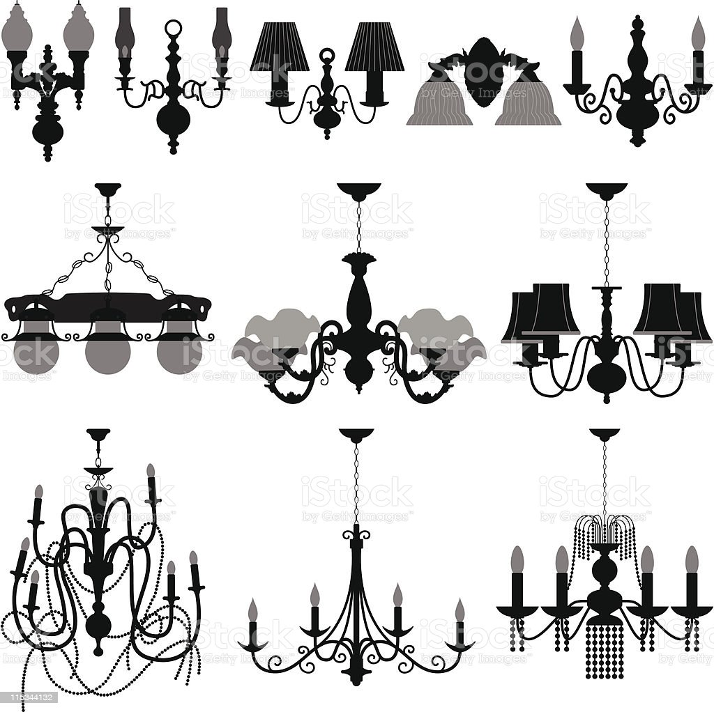 Chandelier Light Lamp vector art illustration