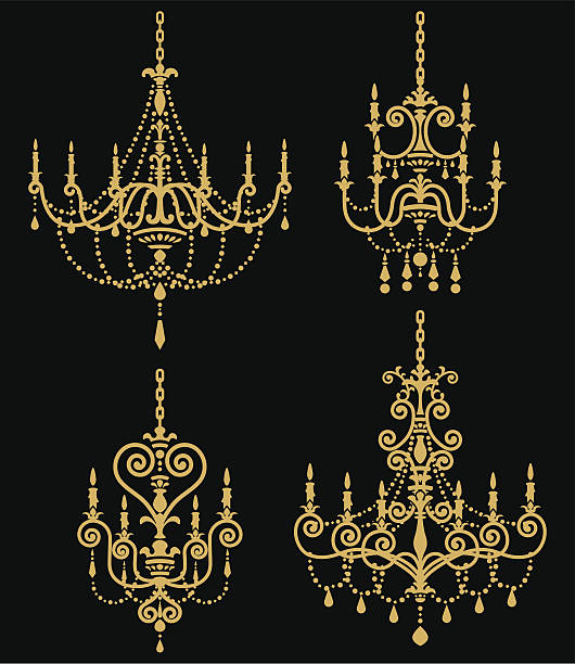 stockillustraties, clipart, cartoons en iconen met chandelier set - kroonluchter