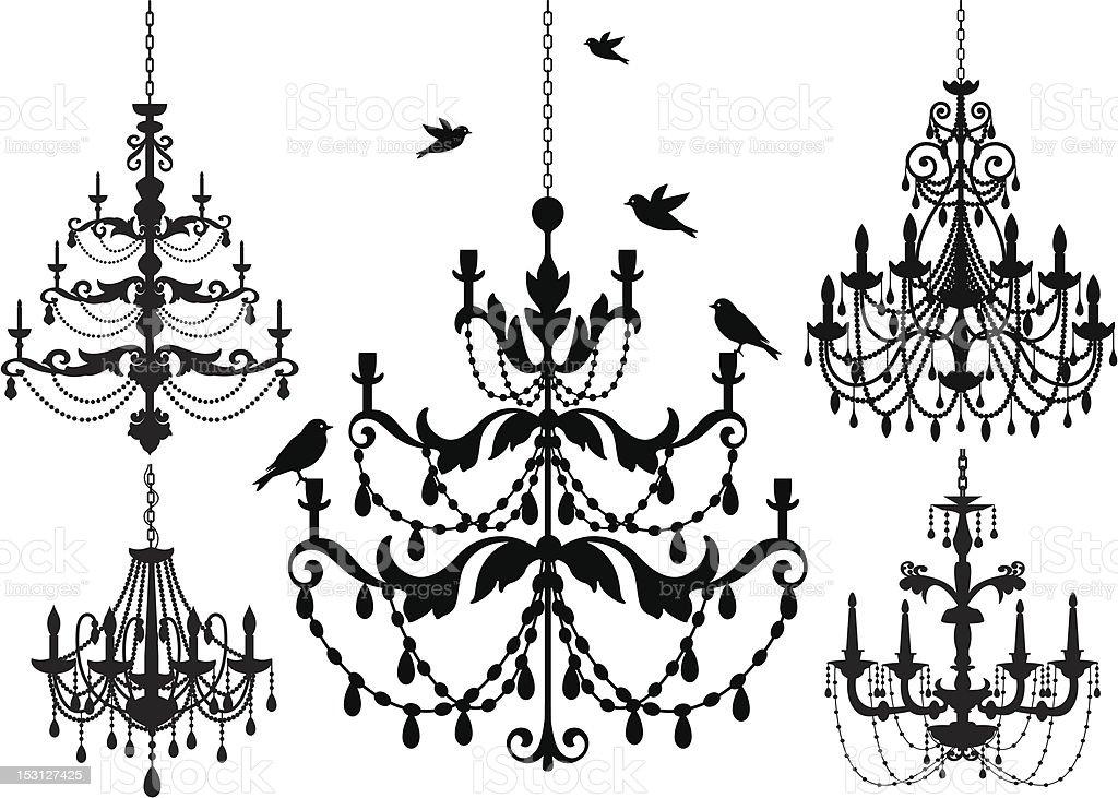 Chandelier silhouette icon set vector art illustration