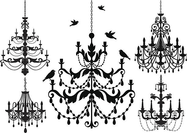 stockillustraties, clipart, cartoons en iconen met chandelier silhouette icon set - kroonluchter