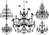 Chandelier silhouette icon set