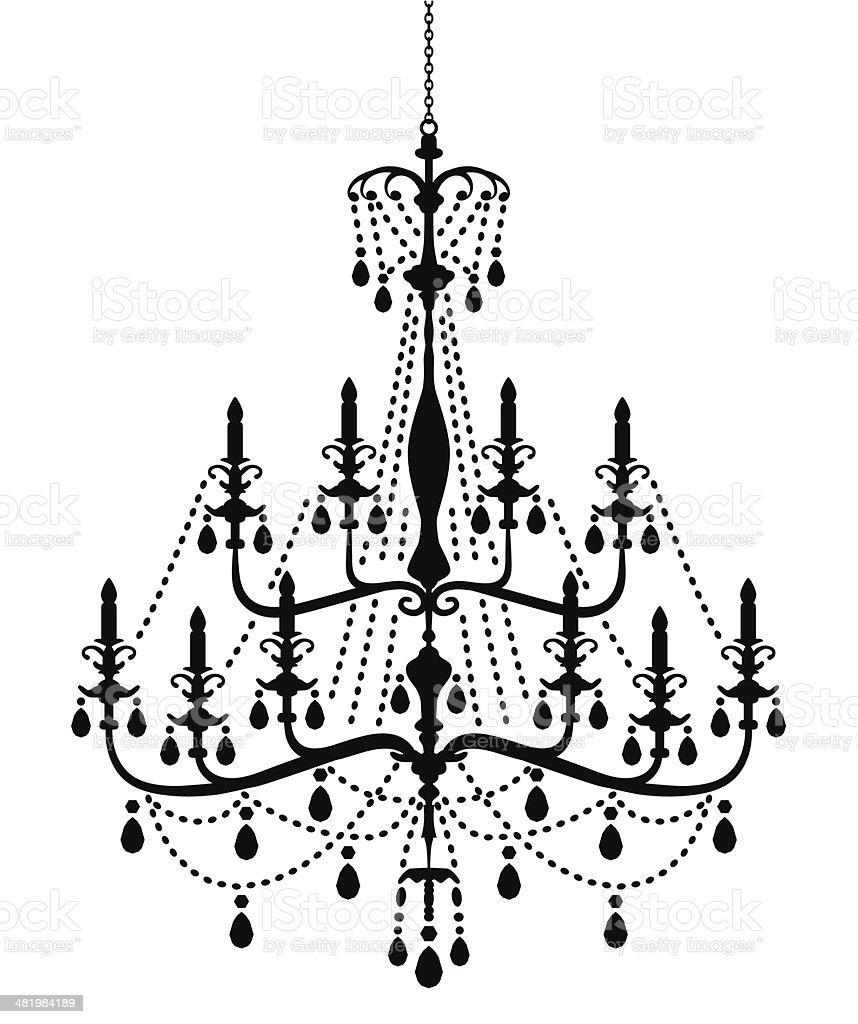 Chandelier Silhouette in Victorian Style vector art illustration