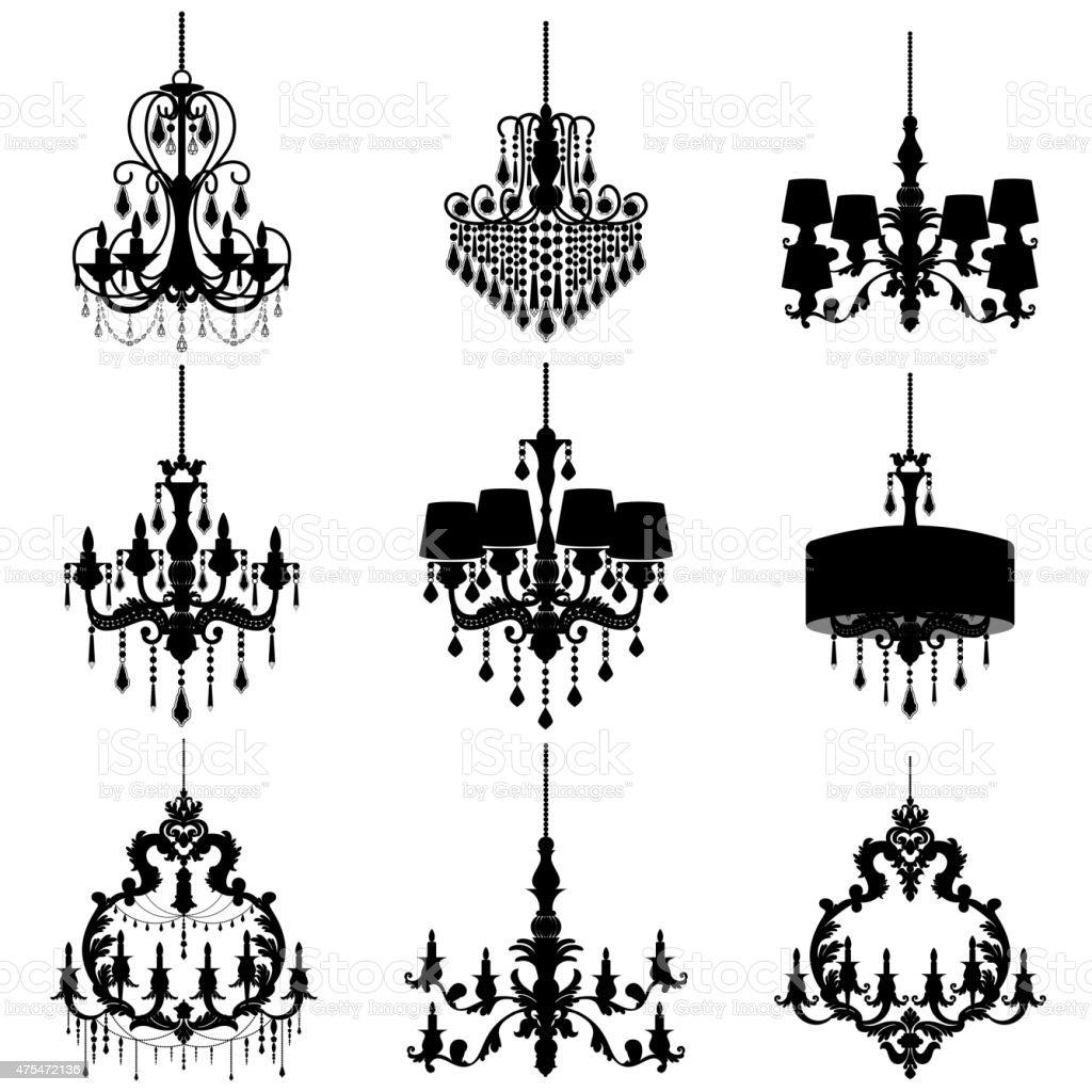 chandelier silhouette isolated on White background vector art illustration