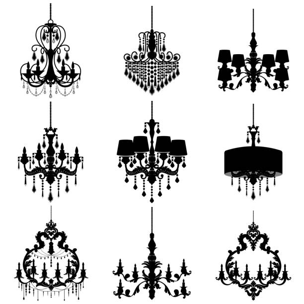Chandelier Silhouette Isolated On White Background Vector Art Illustration