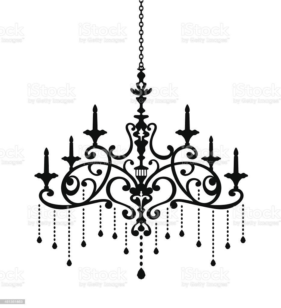 Chandelier Silhouette of Phoenix vector art illustration