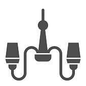 Chandelier solid icon. Lamp vector illustration isolated on white. Decorative light glyph style design, designed for web and app. Eps 10