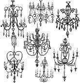 Set of decorative chandeliers. pendant lamps.