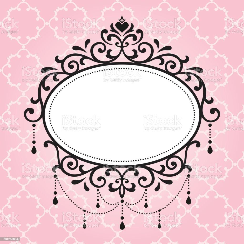 Chandelier Vintage Frames Design On Pink Background Royalty Free