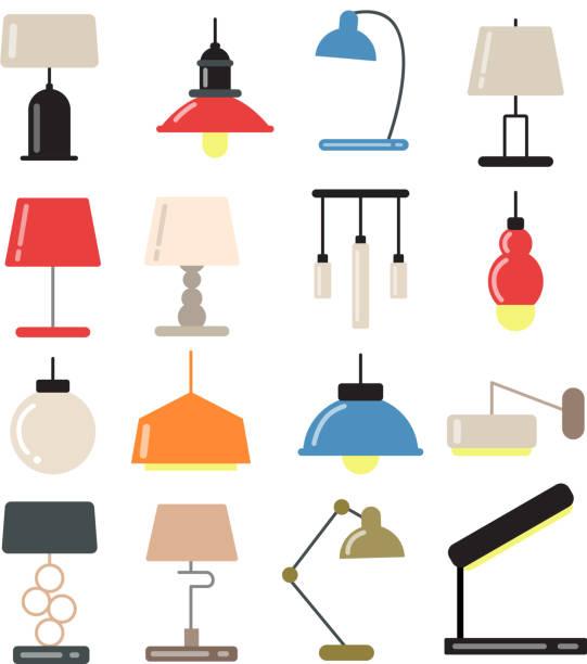 żyrandole, nowoczesne lampy na biurku i podłodze w jasnym wnętrzu. ilustracje wektorowe w stylu płaskim - lampa elektryczna stock illustrations