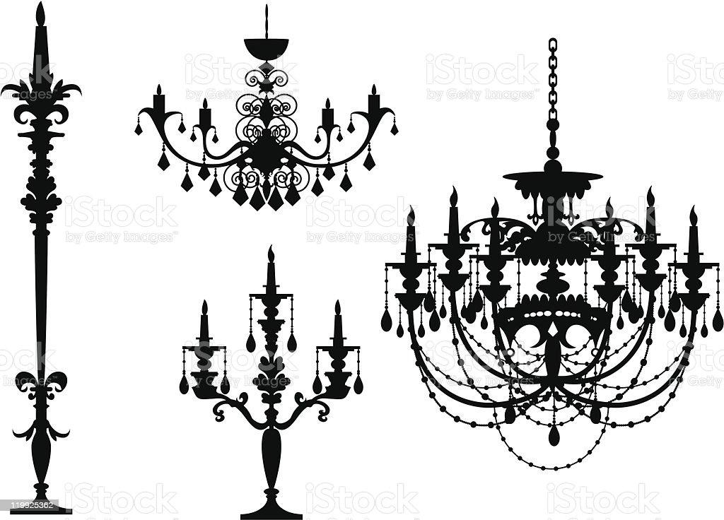 Chandelier-sihouette vector art illustration