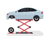 Change a wheel on a car. Tyre repair with lift. Vector illustration.