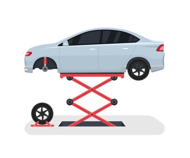 ilustrações, clipart, desenhos animados e ícones de mude uma roda em um carro. reparação de pneus com elevador. ilustração em vetor. - garage