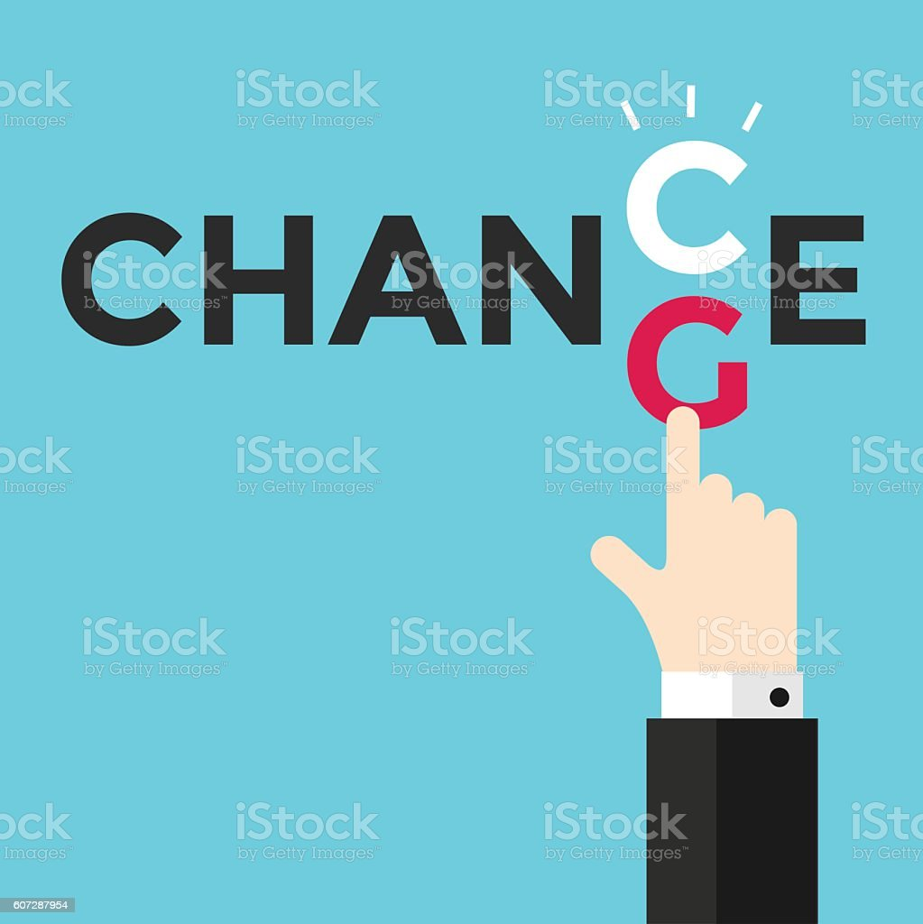 Change and chance. Hand changing letters C and G. vector art illustration