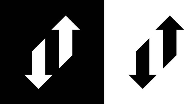 Change Arrows Up And Down. Change Arrows Up And Down.This royalty free vector illustration features the main icon on both white and black backgrounds. The image is black and white and had the background rendered with the main icon. The illustration is simple yet very conceptual. transformation stock illustrations