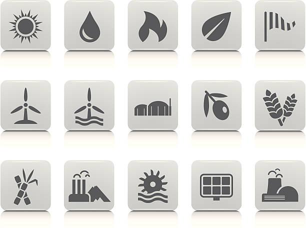 illustrazioni stock, clip art, cartoni animati e icone di tendenza di modifica set di icone di energia - canna da zucchero