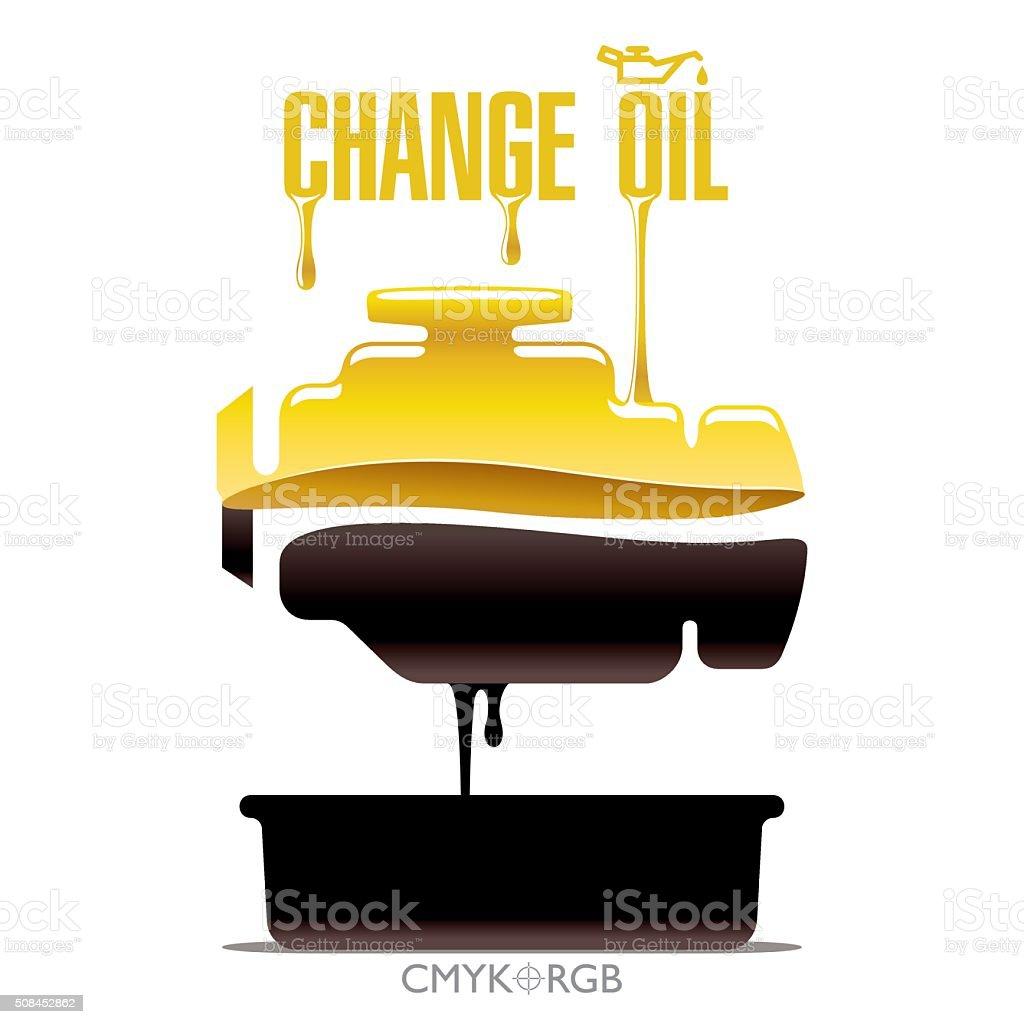 Cambio de aceite de motor - ilustración de arte vectorial