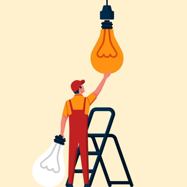 bildbanksillustrationer, clip art samt tecknat material och ikoner med byte lampa. ersätter glödlampan - changing bulb led