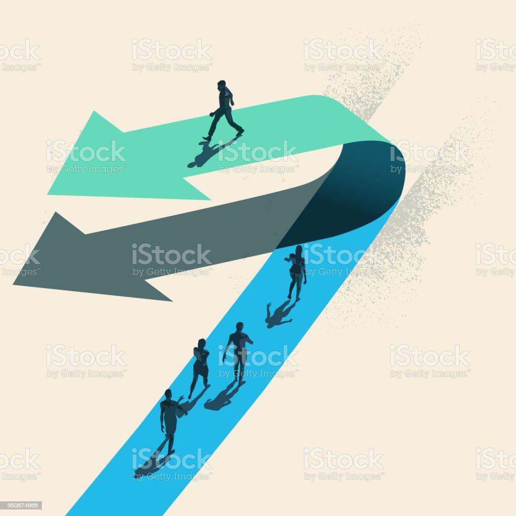 A Change of Direction vector art illustration