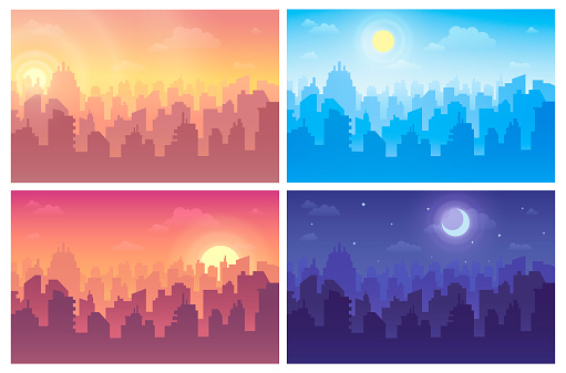 Change of night and day set. Cityscape during morning, afternoon, evening, midnight.