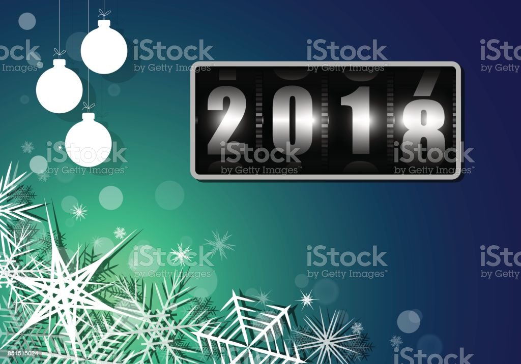 Change of the year on the drum counter from 2017 to 2018 with white snowflakes. Billet for postcard or poster. vector art illustration